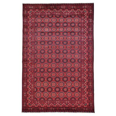 Afghan Khamyab Repetitive Oriental Hand-Knotted Red Area Rug