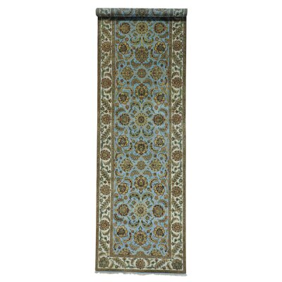 Rajasthan Gallery Oriental Hand-Knotted Wool Blue Area Rug