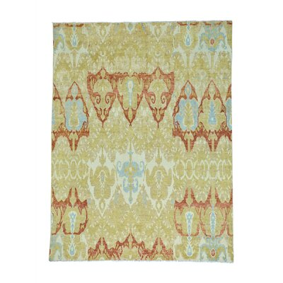 Ikat Uzbek Oriental Hand-Knotted Wool Yellow Area Rug