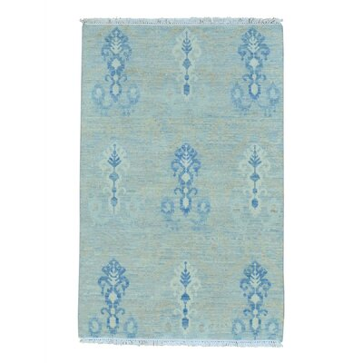 Ikat Oriental Hand-Knotted Wool Blue Area Rug