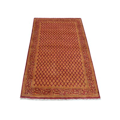Overdyed Oriental Sarouk Mir Hand-Knotted Silk Red Area Rug