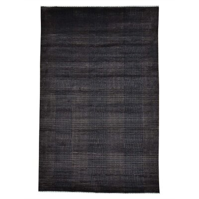 Nepali Tone on Tone Hand-Knotted Silk Black Area Rug