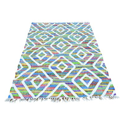 Flat Weave Kilim Hand-Knotted Silk White/Green Area Rug