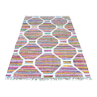 Flat Weave Kilim Oriental Hand-Knotted Silk White/Pink Area Rug