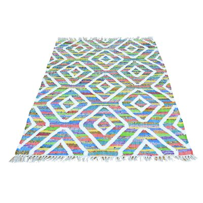 Geometric Flat Weave Kilim Hand-Knotted White/Blue Area Rug