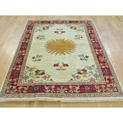 One-of-a-Kind Lavendon Bursting Sun Oriental Hand-Knotted Area Rug