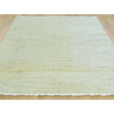 One-of-a-Kind Tasia Plain Shiny Oriental Hand-Knotted Area Rug