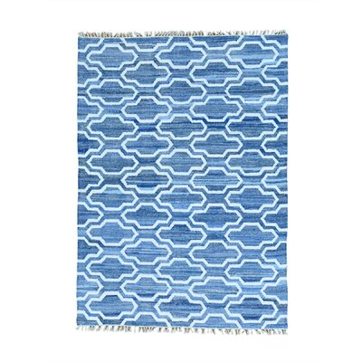 Flat Weave Kilim Oriental Hand-Knotted Blue Area Rug Rug Size: Rectangle 6 x 91