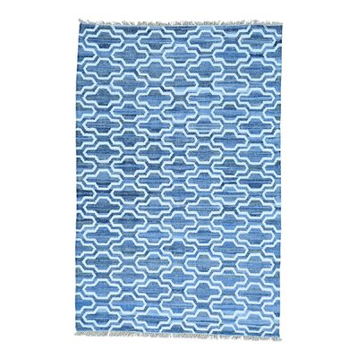 Flat Weave Kilim Oriental Hand-Knotted Blue Area Rug Rug Size: Runner 27 x 61
