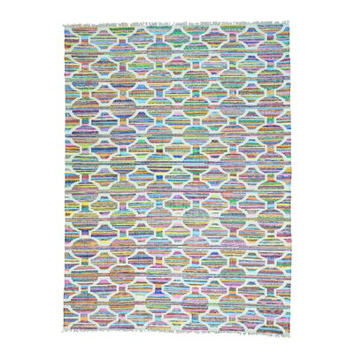 Kilim Oriental Hand-Knotted Ivory/Pink Area Rug