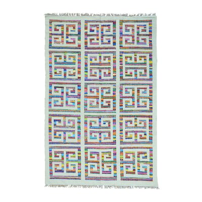 Flat Weave Kilim Oriental Hand-Knotted White/Blue Area Rug Rug Size: Rectangle 6 x 9