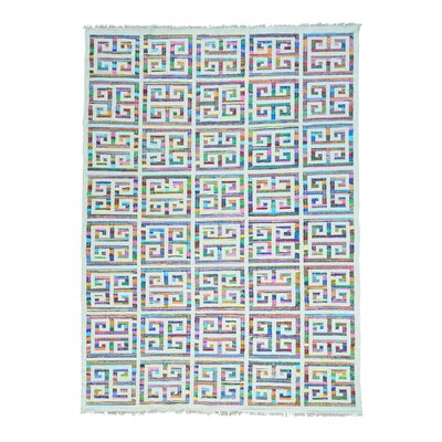 Flat Weave Kilim Oriental Hand-Knotted White/Blue Area Rug Rug Size: Rectangle 10 x 14