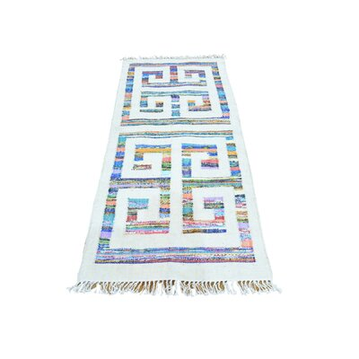 Flat Weave Kilim Oriental Hand-Knotted White/Blue Area Rug Rug Size: Rectangle 27 x 510
