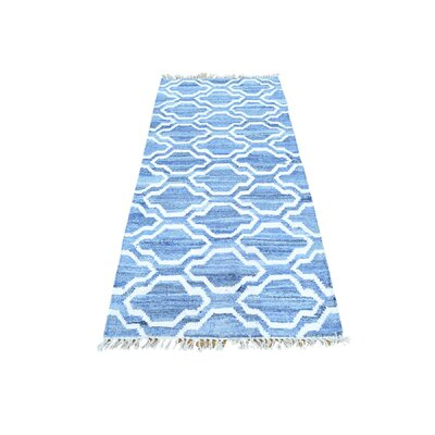 Flat Weave Kilim Oriental Hand-Knotted Blue Area Rug Rug Size: Rectangle 5 x 7
