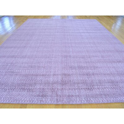 Tone on Tone Oriental Hand-Knotted Silk Purple Area Rug
