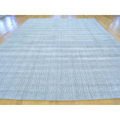 Tone on Tone Oriental Hand-Knotted Silk Gray Area Rug