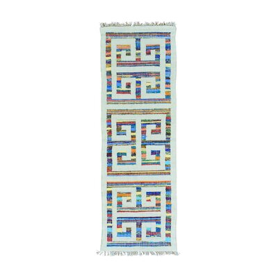 Flat Weave Kilim Oriental Hand-Knotted White/Blue Area Rug Rug Size: Runner 27 x 8