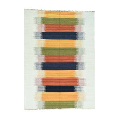 Flat Weave Reversible Durie Kilim Hand-Knotted Yellow/Blue Area Rug