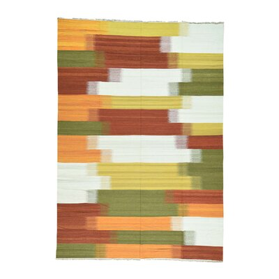 Flat Weave Durie Kilim Hand-Knotted Orange/White Area Rug