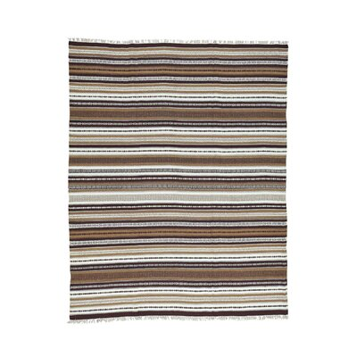 Flat Weave Striped Durie Kilim Hand-Knotted Ivory/Brown Area Rug