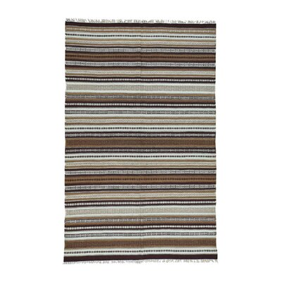 Durie Kilim Striped Oriental Hand-Knotted Brown/Off White Area Rug