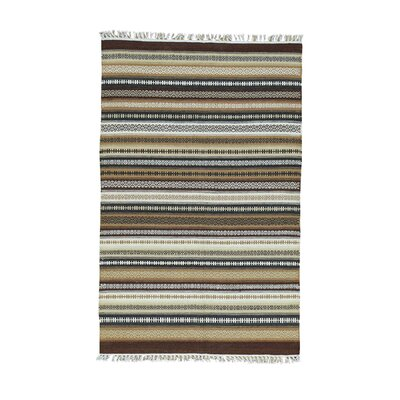 Striped Durie Kilim Flat Weave Oriental Hand-Knotted Brown/Off White Area Rug