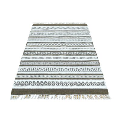 Striped Durie Kilim Flat Weave Hand-Knotted Ivory Area Rug