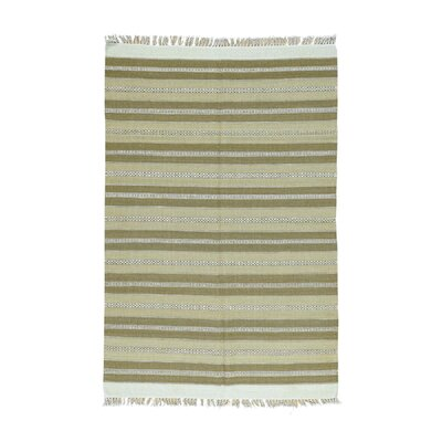 Durie Kilim Flat Weave Striped Hand-Knotted Beige Area Rug