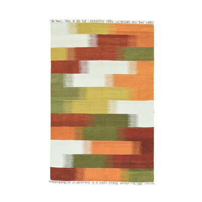 Durie Kilim Flat Weave Hand-Knotted Green/Orange Area Rug