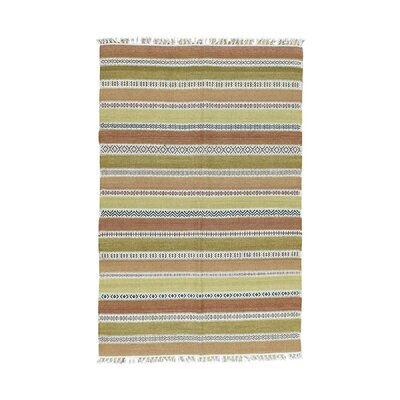 Striped Durie Kilim Flat Weave Hand-Knotted Green/Light Brown Area Rug