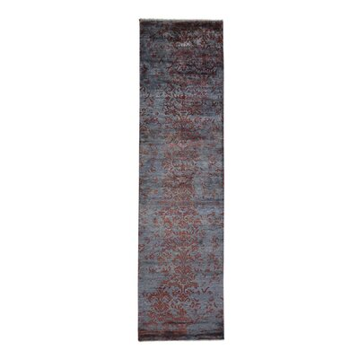 Tone on Tone Damask Hand-Knotted Silk Gray Area Rug