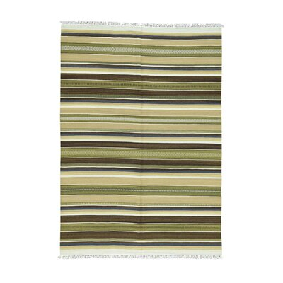 Flat Weave Reversible Striped Kilim Hand-Knotted Light Green/Brown Area Rug