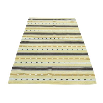 Flat Weave Reversible Striped Qashqai Kilim Hand-Knotted Beige/Gray Area Rug