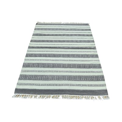 Striped Durie Kilim Flat Weave Hand-Knotted Ivory/Gray Area Rug