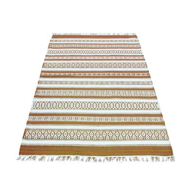 Flat Weave Reversible Striped Kilim Hand-Knotted Ivory/Mustard Area Rug