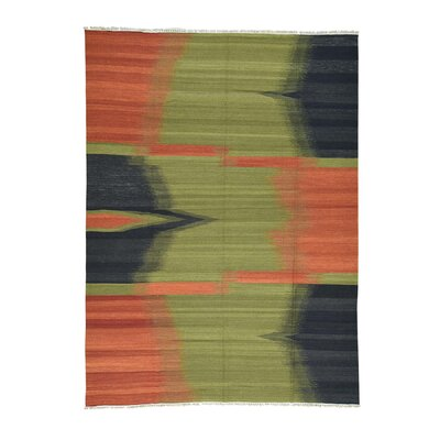 Durie Kilim Flat Weave Hand-Knotted Light Green/Orange Area Rug