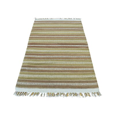 Flat Weave Reversible Striped Kilim Hand-Knotted Light Green/Light Brown Area Rug
