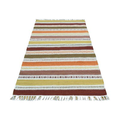 Striped Flat Weave Reversible Kilim Hand-Knotted Orange/Ivory Area Rug