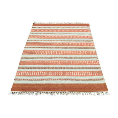 Striped Flat Weave Reversible Kilim Hand-Knotted Ivory/Orange Area Rug