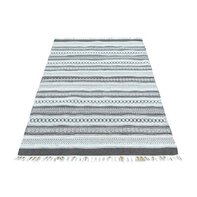 Flat Weave Striped Reversible Kilim Oriental Hand-Knotted White/Gray Area Rug