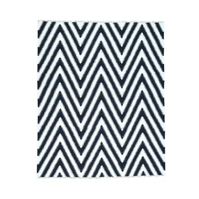 Zigzag Durie Kilim Flat Weave Hand-Knotted Ivory Area Rug