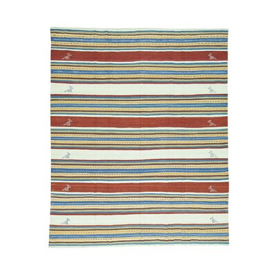 Durie Kilim Flat Weave Striped Hand-Knotted Ivory/Brown Area Rug