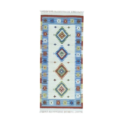 Anatolian Durie Kilim Flat Weave Hand-Knotted Ivory Area Rug