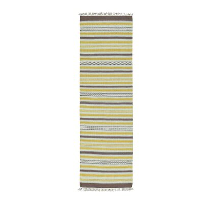 Flat Weave Striped Durie Kilim Hand-Knotted Brown/Yellow Area Rug
