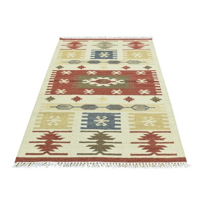 Anatolian Durie Kilim Oriental Flat Weave Hand-Knotted Beige Area Rug