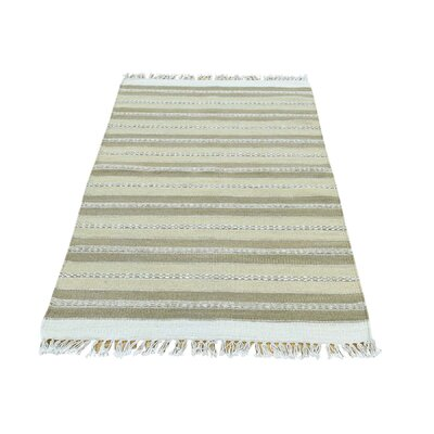Durie Kilim Flat Weave Striped Hand-Knotted Ivory/Light Green Area Rug