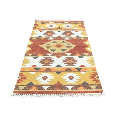 Anatolian Durie Kilim Flat Weave Hand-Knotted Rust/Orange Area Rug