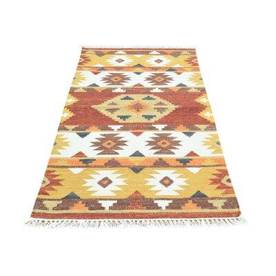 Anatolian Durie Kilim Flat Weave Hand-Knotted Rust/Orange Area Rug