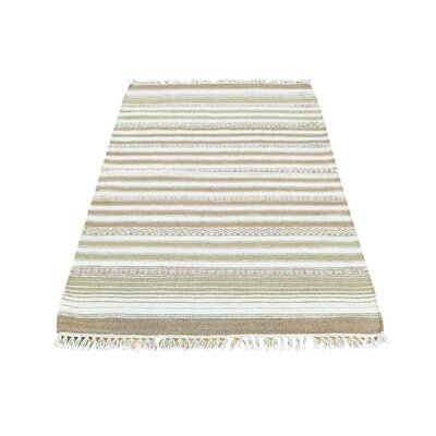 Striped Durie Kilim Flat Weave Oriental Hand-Knotted Beige/Off White Area Rug