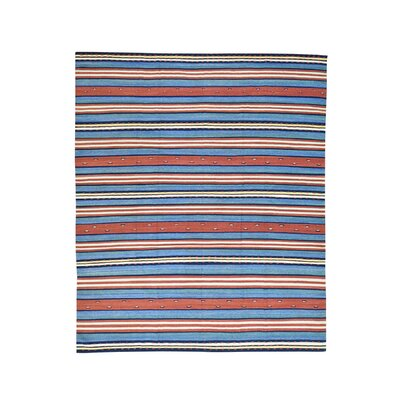 Durie Kilim Flat Weave Striped Hand-Knotted Blue/Rust Area Rug